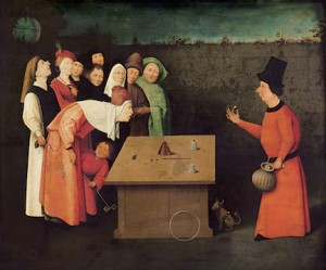 XSL93883 Credit: The Conjuror (oil on panel) (pre-restoration) by Bosch, Hieronymus (c.1450-1516) ©Musee d'Art et d'Histoire, Saint-Germain-en-Laye, France/ Giraudon/ The Bridgeman Art Library Nationality / copyright status: Netherlandish / out of copyright
