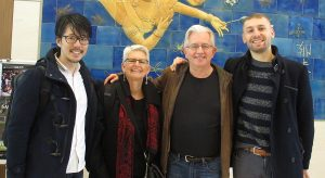 Paul Gertner, his wife, standing with their two hosts in Japan