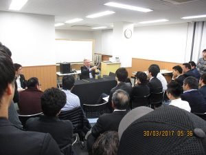 Paul Gertner lecturing a group of Japanese magicians in Tokyo Japan