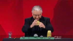 Paul Gertner producing a large steel ball on Penn and Teller Fool Us