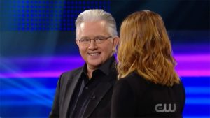 Paul Gertner speaking to Allyson Hannigan on Penn and Teller Fool Us
